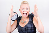 Excited business woman screaming out in success