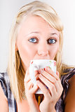 Candid portrait of woman enjoying hot beverage