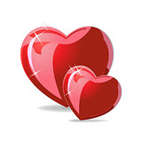 Vector illustration of Couple of red hearts on white background