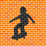 Vector illustration of skater shadow in brick wall