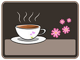 Coffee and flower illustration