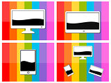 Computer tablet mobile in colorful background illustration