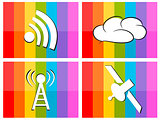 wifi cloud satellite in colorful background illustration