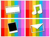 E-mail music movie photo in colorful background illustration