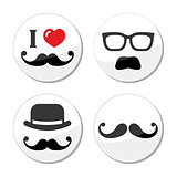 I love mustache / moustache icons set