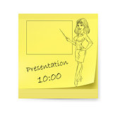 Yellow sticker with business woman