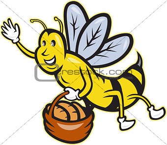 Bee Carrying Basket Bread Loaf Cartoon