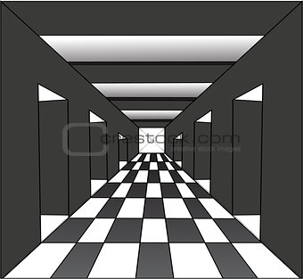 Abstract corridor with the open doors