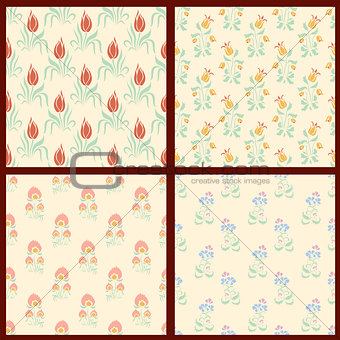 Set of vector floral backgrounds