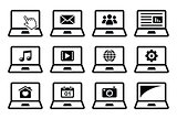 Laptop black vector icons set