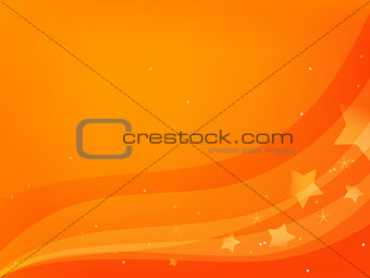 red-orange background with stars