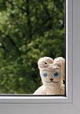 sad toy rabbit outside