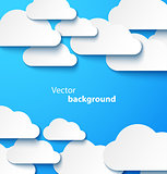 Paper clouds banner with drop shadows