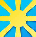 Abstract paper sun on blue sky