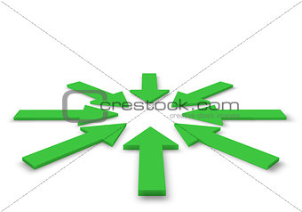 Green arrows in 3D illustration