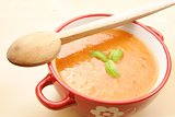 tomato soup - focus on spoon