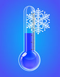 Thermometer with snowflakes. Cold weather.