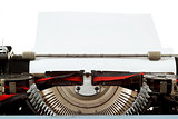 retro typewriter close up with entered paper