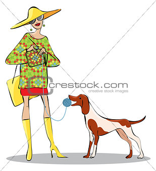Knitting lady and a dog