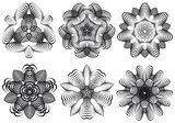 Abstract geometric flowers, vector