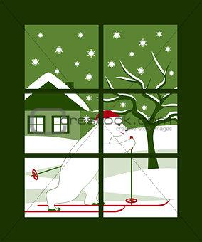 bear skier outside window