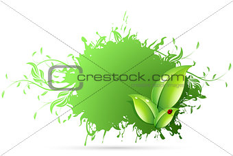Abstract Grunge Background with Leaves