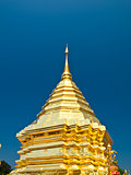 Golden pagoda, Wat Phrathat Doi Suthep temple in Chiang Mai, Tha