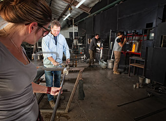 Workers Making Glass Objects