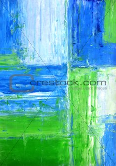 Blue and Green Abstract Art Painting