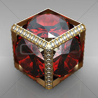 jewel cube with gem