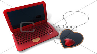 heart's style red laptop