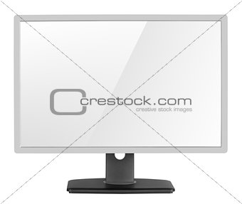 Blank modern computer display on white