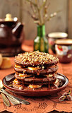Chocolate Pancakes with Bananas and Caramel Sauce