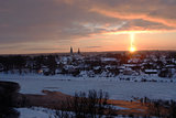 Natural phenomenon by sunset - light pillar (sun pillar)