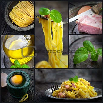 Pasta carbonara collage