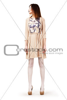 Elegance. Trendy Woman standing in Trendy Clothes. Summertime. Seasonal Collection