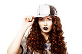 Fashionable Redhead Trendy Woman holding Kepi. Charismatic Trendy Female