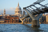 View of St Paul&#39;s cathedral and Millennium bridge, London