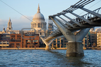 View of St Paul's cathedral and Millennium bridge, London
