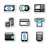 Money, atm - cash machine vector icons set