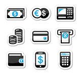 Money, atm - cash machine vector icons set