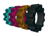 cmyk gear wheels