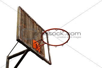 Old basketball hoop and a back board
