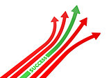 Red and green arrows 3D illustration