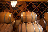 Wine Barrels and Bottles in Cellar
