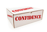 White Box with Confidence on Sides Isolated