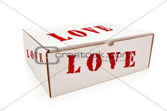 White Box with Love on Sides Isolated