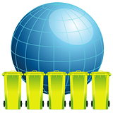 Earth globe with garbage bin,concept of environment pollution