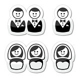 Gay / lesbian marriage  icons set