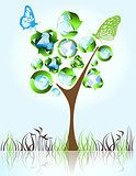 Eco, bio, green and recycle symbols on tree